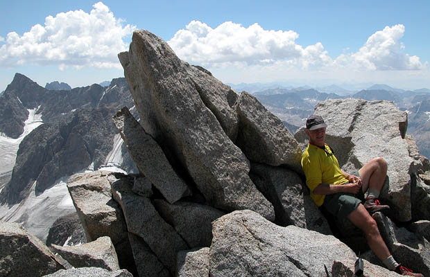 Jeff at rest on the summit of Mt Agassiz.
