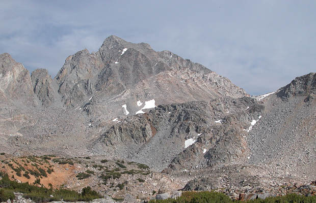 A summer view of the western face of Mt Agassiz and Bishop Pass