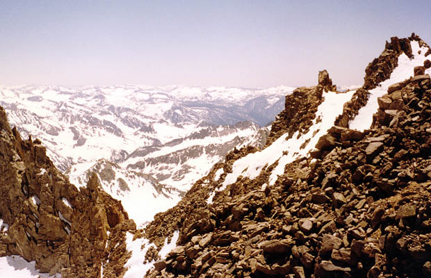 The view of Agassiz Col from the summit ridge of Agassiz ... Dusy Basin beyond