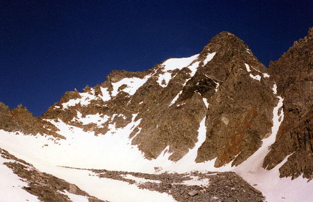 Looking at the southeast face of Agassiz ... The center couloir was my climb route