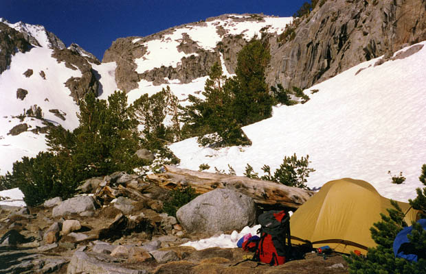 My camp at Sam Mack Meadow.  Later I moved camp above here to Sam Mack Lake