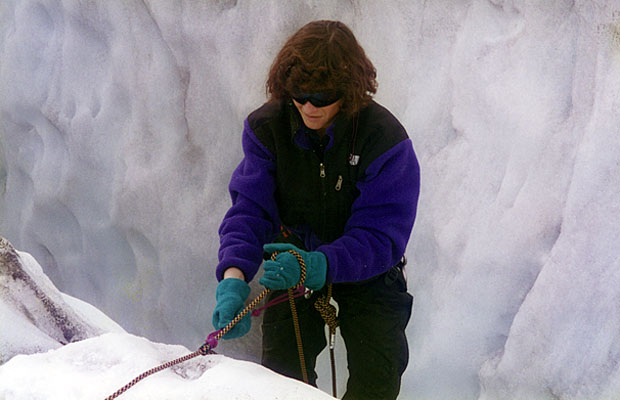 Crevasse extraction training for Lucy on the lower Easton Glacier