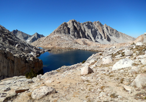 Our last high lake, White Bear, with it's associated Pass - on right.