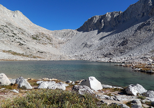 The view of White Bear Pass from Brown Bear Lake.