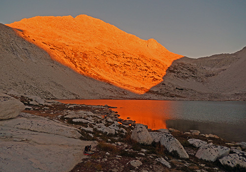 Alpen Glow over Brown Bear Lake.  White Bear Pass on right.