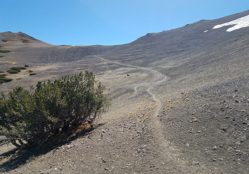 The old mining road leading up to intercept the PCT at 10,600'.