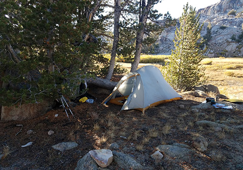 My wind sheltered campsite location at Grizzly Meadows.