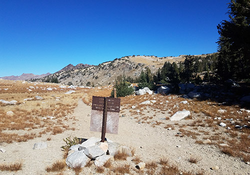 Looking west from Bond Pass. Disused high trail on the right-hand ridge.