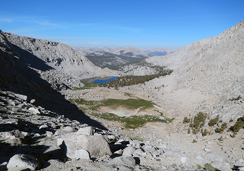 Looking down into the Upper Soldier Lake canyon & meadow.