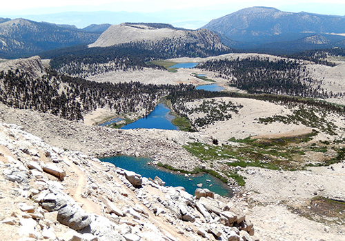 The view east from New Army Pass.  Cottonwood Lakes below.