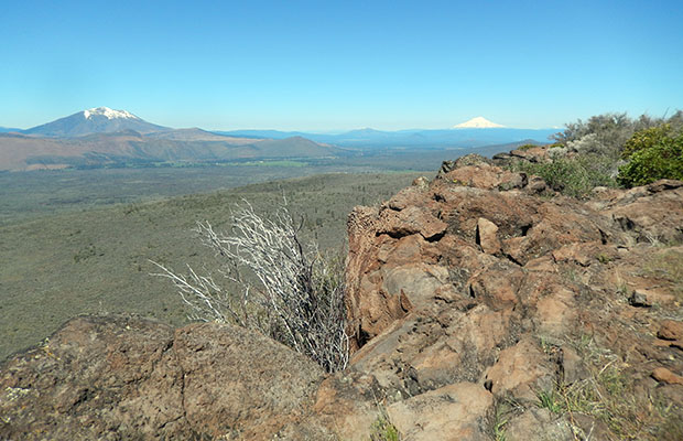 Looking west over the lava rim to Mount Shasta