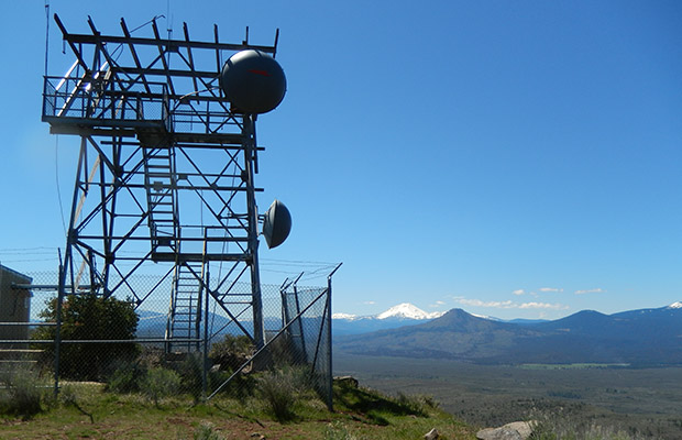 The relay station tower along the lava rim.  Mt Lassen in the background