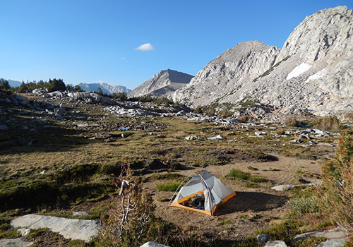Camped on the easy slopes below the southern side of Hopkins Pass