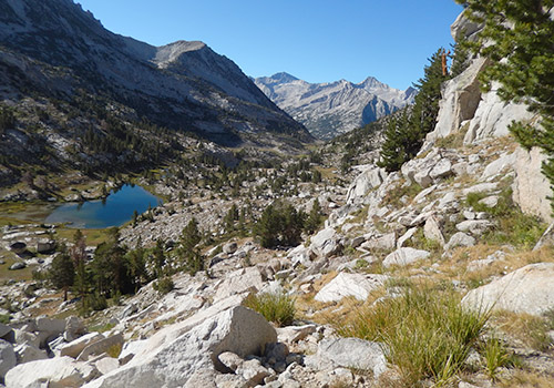 On the steep climb above Laurel Lake to Bighorn Pass