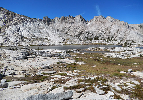 Cotton Lake on the granite benches along the High Route
