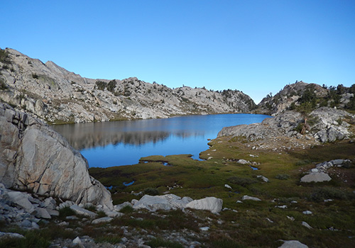 Tully Lake on the granite benches below Shout of Relief