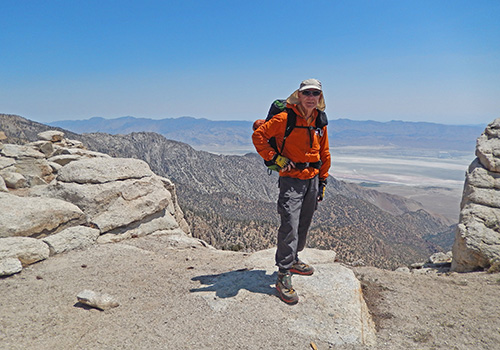 Bob near the danger zone ... 6,000 feet down to Owens Valley