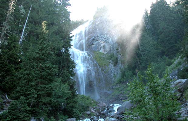 Spray falls in the early morning ... a short hike from the Mowick Lake.