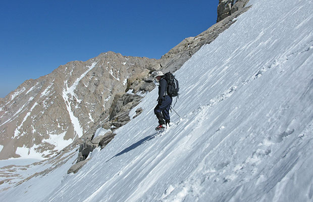 May 2009: Jim Keogh using crampons on our descent from Trail Crest.