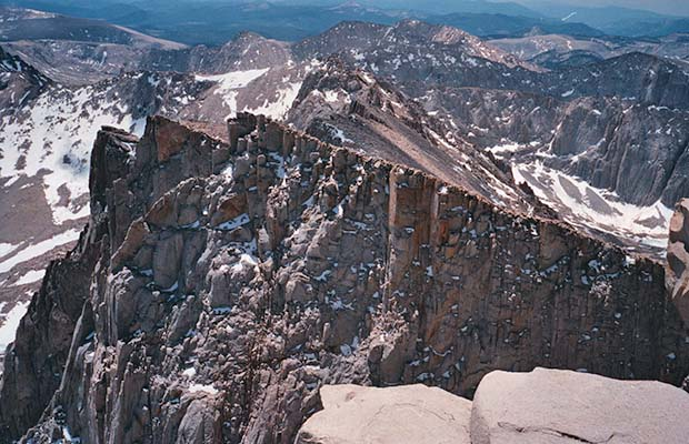 June 1988, looking down along the Keeler Needles from the 14,495' summit of Whitney.