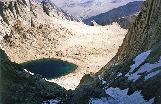 October 1991: Looking down the Mountaineer's route couloir to Iceberg lake.