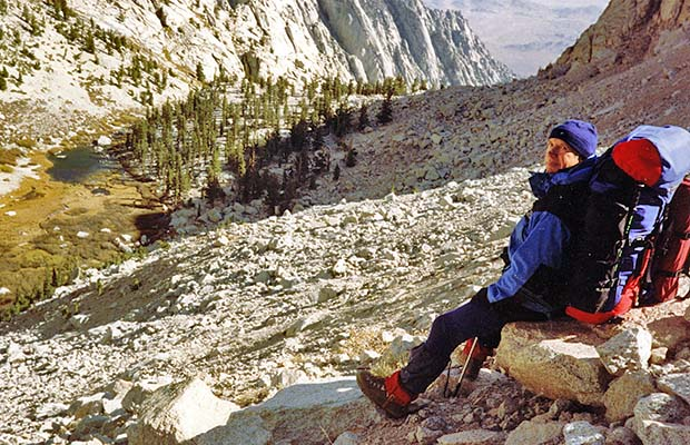 October 1991: Me on the climb from Lower Boy Scout Lake to Clyde Meadow
