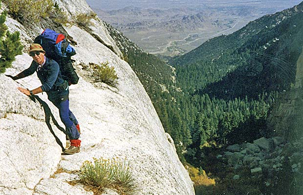 Late October 1991: Me negotiating the Ebersbacher Ledges on the Mountaineer's Route.