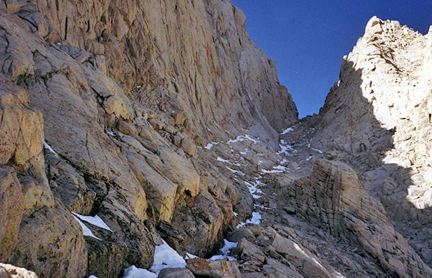 October 1991: Ascending [solo] the Mountaineer's route couloir.