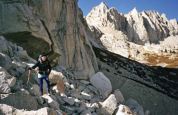 October 1991:  Tony on the climb from Lower Boy Scout Lake to Clyde Meadow.