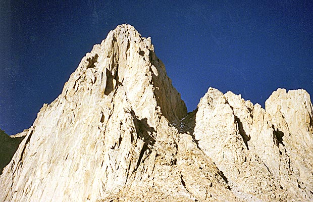October 1991: Looking up the east face of Whitney from Iceberg Lake.
