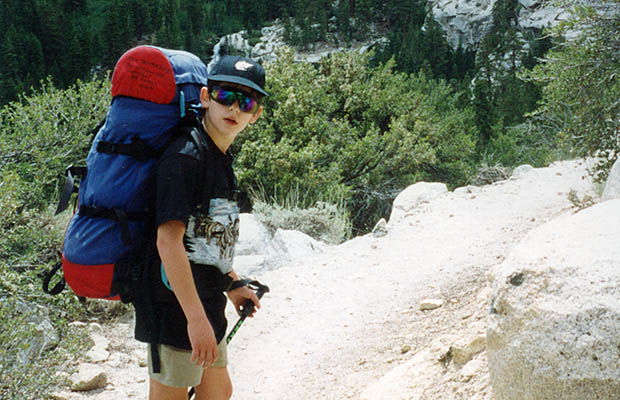 August 1993: Jordan on the Whitney Trail above Outpost Camp.
