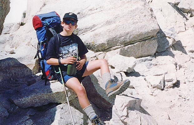 August 1993: Jordan on the Whitney Trail close to Trail Camp.