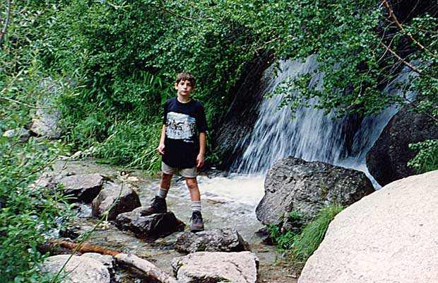 August 1993: My son Jordan [age 11] astride North Fork Creek on the Whitney Portal Trail.